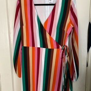 Striped dress, tie-waist, fairly low cut